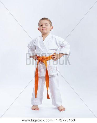 With orange belt athlete on a white background