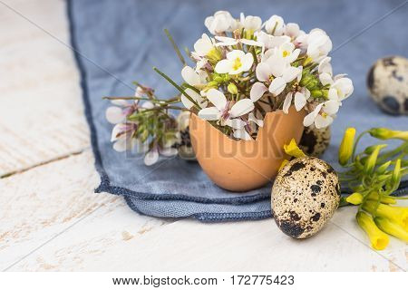 Easter interior decoration bouquet of white flowers in eggshell quail eggs blue linen napkin on wood table close up