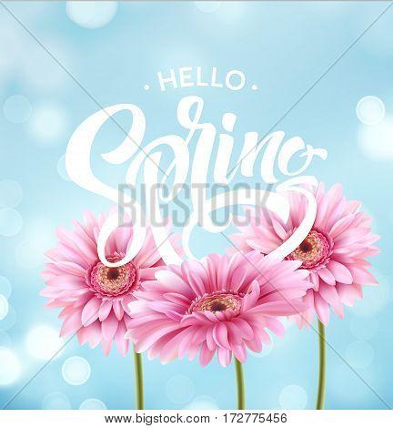 Gerbera Flower Background and Spring Lettering. Vector Illustration EPS10