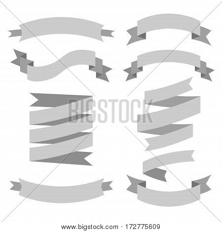 Vector set of different shape and colors ribbons
