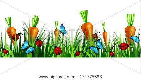 Green Grass seamless isolated clip art vector on white with blue butterflyes and ladybugs carrots