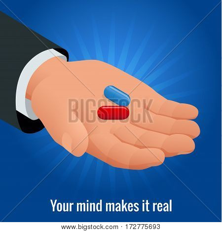 Isometric mans hand with red and blue pills. Vector illustration