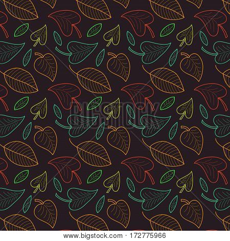 Fresh leaves seamless pattern in vector. Colorful foliage endless background