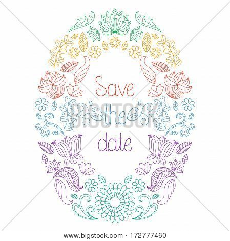 Vector wedding invitation card in floral frame and text save the date
