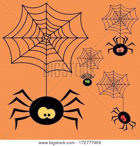 Set of cartoon halloween black spiders. Vector Illustration