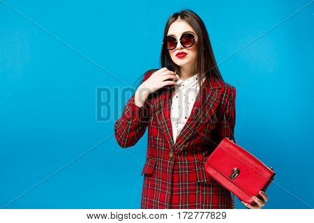 Vintage Fashion Lady. Checked Coat And Stylish Glam Retro Style Trend Autumn Student