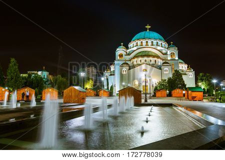 St. Sava Cathedral - Belgrade - Serbia - architecture travel background poster