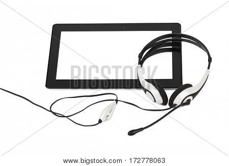 Touchpad pc and headphones isolated on white background