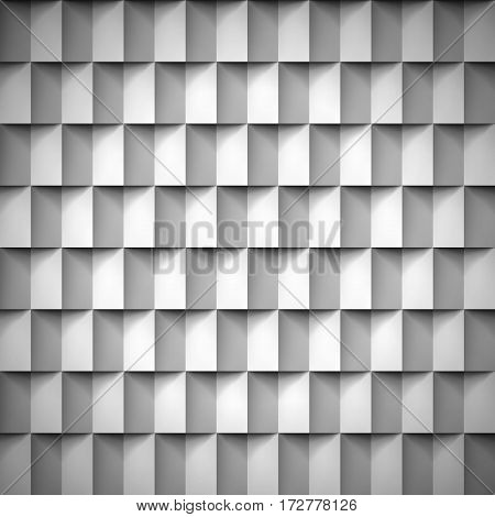 Volume realistic texture, cubes, gray 3d geometric pattern, design vector background