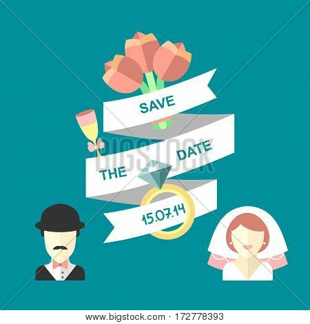 Wedding romantic invitation card with ribbon, flowers, ring, bride and groom in flat style. Save the Date invitation in vector