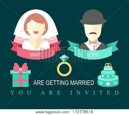 Wedding invitation card with ribbon, ring, cake, gift, bride and groom in flat style