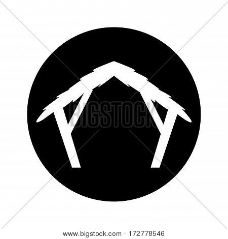 manger stable figure silhouette icon vector illustration design