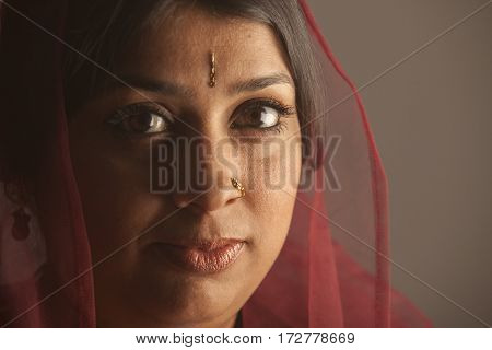 close up of an exotic brunette indian woman with dark skin. brown eyes and a bindi on her face.