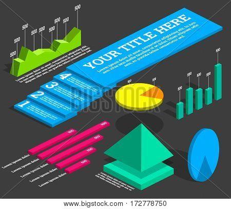 Infographics elements. Isometric diagrams, pie chart line chart