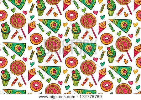 Sweet desserts vector seamless pattern. Endless background with lollipop, candy, ice cream etc. Cake vector. Cake dessert. Cake isolated.