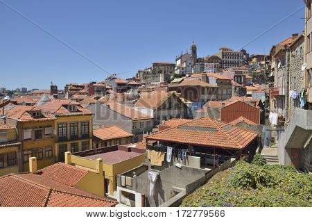 PORTO, PORTUGAL - AUGUST 5, 2015: Old houses in in the historic center of the city Porto Portugal