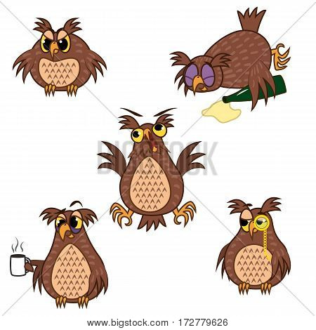 Set Vector Illustrations isolated character cartoon owl emoticons with different emotions for site, infographics, reports, comics