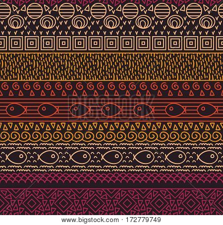 Ethnic tribal textile decorative native ornamental striped seamless pattern with fish in vector
