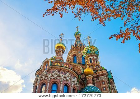 Cathedral of Our Savior on Spilled Blood in Saint Petersburg Russia - closeup view. Architecture landscape of Saint Petersburg Russia landmark