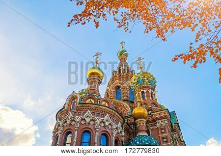 Saint Petersburg Russia Cathedral of Our Savior on Spilled Blood -architecture landscape of Saint Petersburg Russia landmark