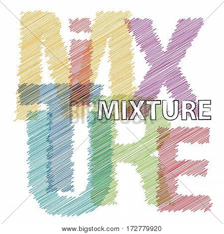 Vector mixture. Colorful broken text scrawled isolated
