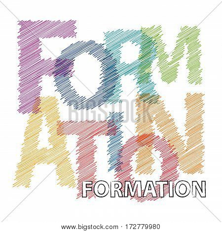 Vector formation. Colorful broken text scrawled isolated