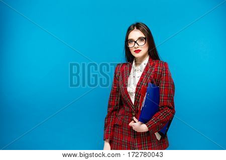 Close Up Portrait Of A Smart Business Woman With Holder