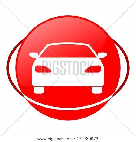 Red icon, circle car vector illustration on white background