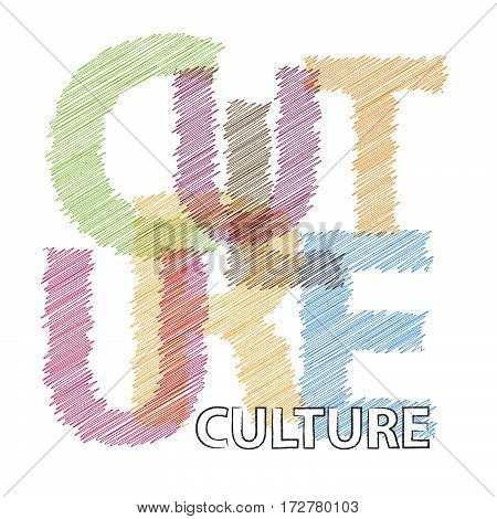 Vector culture. Colorful broken text scrawled isolated