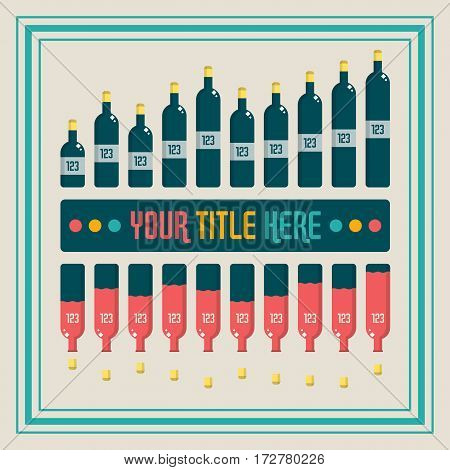 Infographics elements. Wine bottle bar chart vector illustration