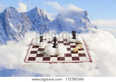amazing and surreal chess match on the alps