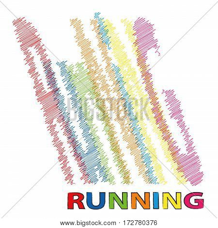 Vector Running Colorful broken text scrawled isolated