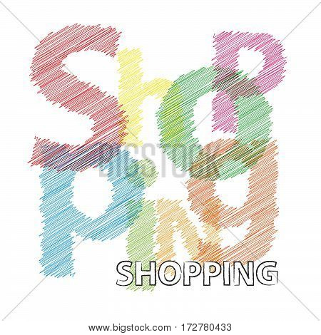 Vector Shopping. Colorful broken text scrawled isolated