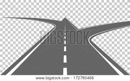 Main road with white markings and side roads. Vector illustration