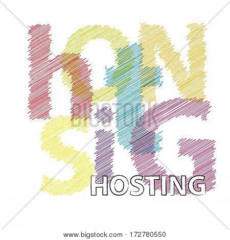Vector hosting. Colorful broken text scrawled isolated