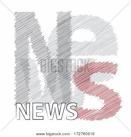 Vector News. Colorful broken text scrawled isolated
