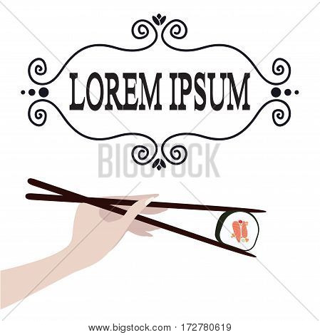 Hand holding sushi roll by chopsticks on white background