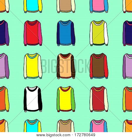 Seamless wallpaper of cartoon sweaters. Cartoon vector pattern