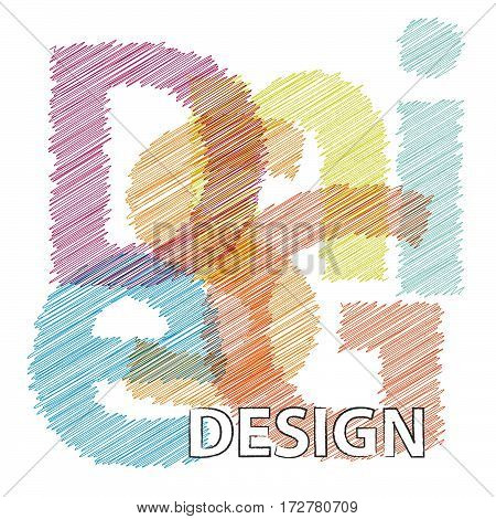 Vector Design. Colorful broken text scrawled isolated