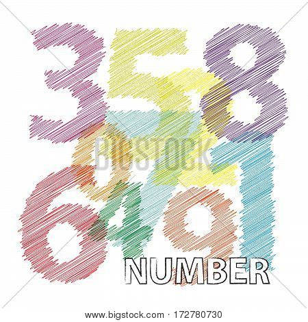 Vector numbers. Colorful broken text scrawled isolated