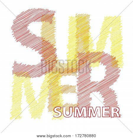 Vector summer. Colorful broken text scrawled isolated