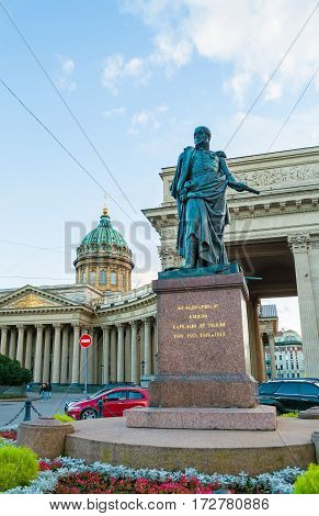 ST PETERSBURG RUSSIA - OCTOBER 3 2016. Monument to Field Marshal Prince Barclay de Tolly on the background of the Kazan Cathedral in St Petersburg Russia. St Petersburg Russia architecture view