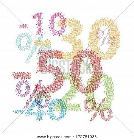Vector discounts cover Colorful broken text scrawled isolated