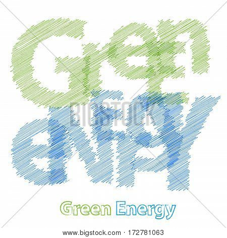 Vector Green Energy. Colorful broken text scrawled isolated