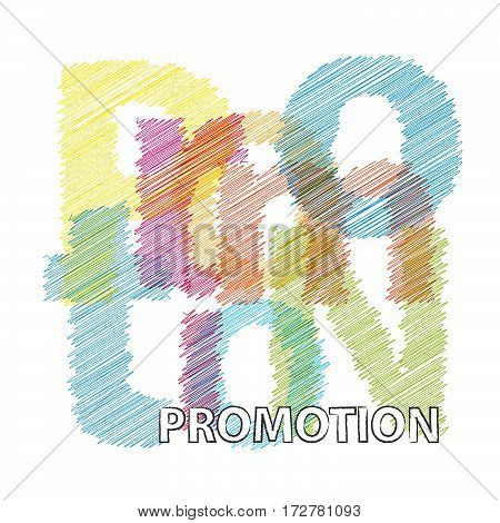 Vector promotion. isolated colorful broken text scrawled