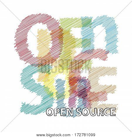 Vector open source. isolated colorful broken text scrawled