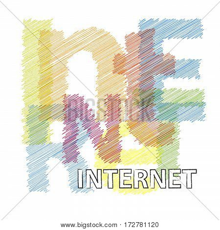 Vector internet. isolated colorful broken text scrawled