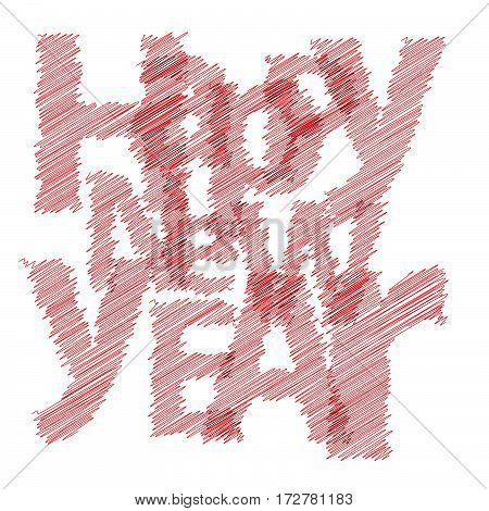 Text Happy New Year Colorful broken text scrawled isolated