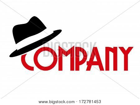 Vector word with hat, isolated illustration on white