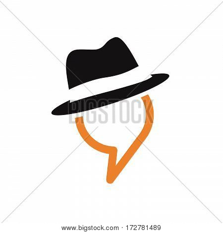 Vector talking man in the hat, isolated illustration on white